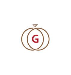 g letter ring diamond logo vector image vector image