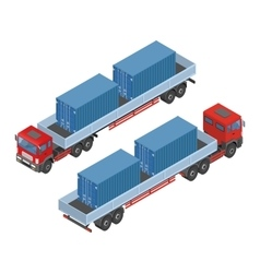 isometric truck parking in the street available vector image vector image