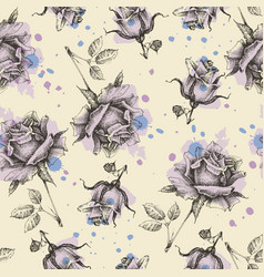 paint roses seamless pattern vector image vector image