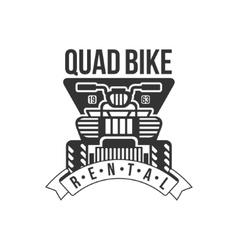 Quad bike renting label design black and white vector