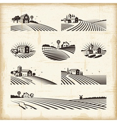 Retro landscapes vector image vector image