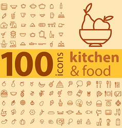 set of 100 icons of different types of cookware vector image vector image