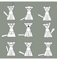 Set of funny geometric cats vector image