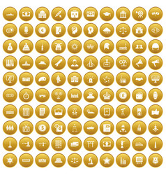 100 government icons set gold vector