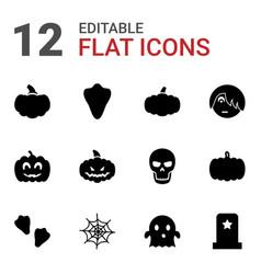 12 halloween icons vector