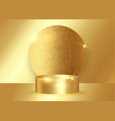 3d gold platform studio minimal scene award podium vector image