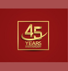 45 years anniversary with square and swoosh vector