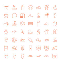 49 summer icons vector image