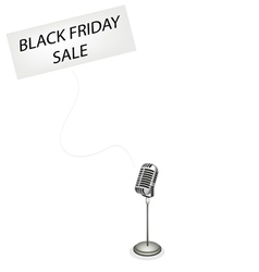 A retro microphone broadcasting black friday sale vector