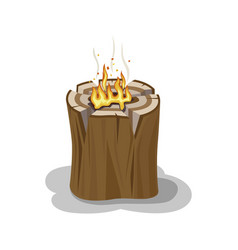 Alight stump isolated firewood vector