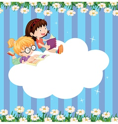 An empty cloud template with two girls reading vector