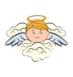 angel cloud heaven halo icon vector image