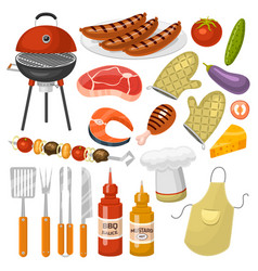 Barbecue party products bbq grilling kitchen vector