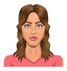 beautifull brunette with blue eyes on white vector image