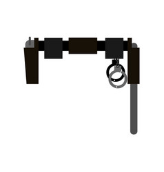 Belt of policeman gun club and handcuffs vector