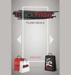 black friday flash deals web banner vector image