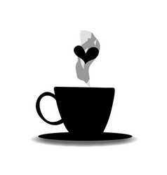 black silhouette of cup with steam and heart vector image