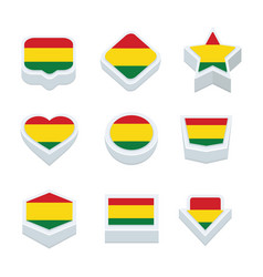 Bolivia flags icons and button set nine styles vector