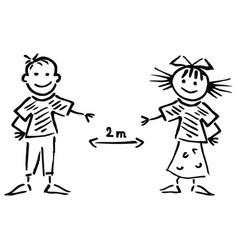 boy and girl black sketch safe distance vector image