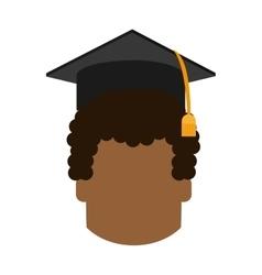 boy head graduation cap design vector image