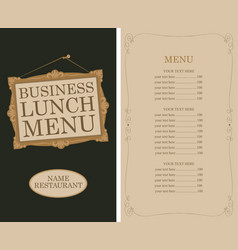 business lunch menu with picture frame and price vector image
