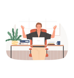 businesswoman with closed eyes meditating at vector image