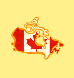 Canada - map colored with canadian flag vector