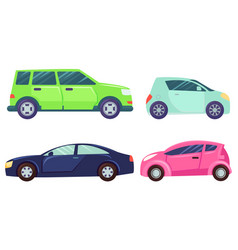 Car models jeep and mini automobile vehicles set vector