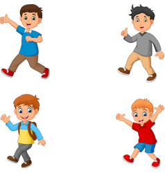 cartoon boys collection set vector image