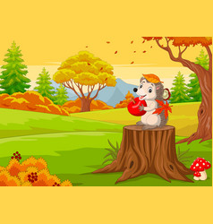 cartoon hedgehog holding red apple in forest vector image
