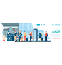 character waiting takeoff in airport hall in vector image