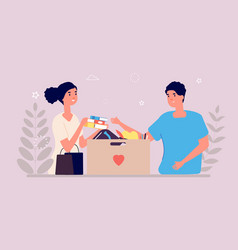 Charity box people donate clothes books vector
