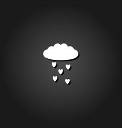 cloud and heart rain icon flat vector image