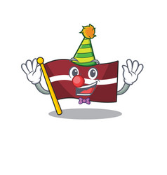 Clown cartoon flag latvia in with mascot vector