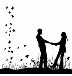 couple in a meadow vector image
