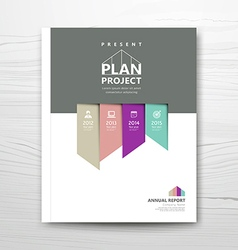 Cover report present colorful ribbon year plan vector image