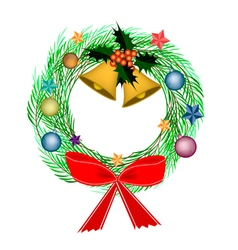 Cristmas Wreath of Pine Leaves with Christmas Deco vector image