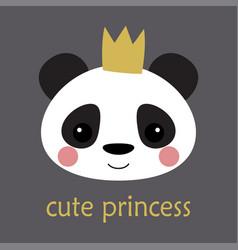 cute panda princess vector image
