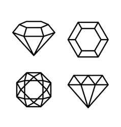 Diamond Gems Icons Set on White Background vector