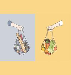dieting choosing between various foods concept vector image