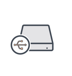 Disk drive external hard storage usb icon vector