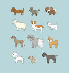 dogs collection cute cartoon puppies different vector image