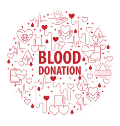 donation blood circle banner vector image