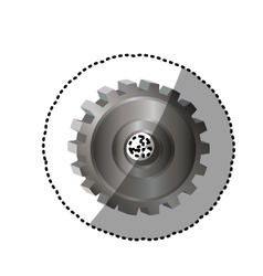 Dotted sticker gear wheel icon vector