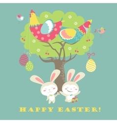 Easter bunnieschicken and easter eggs vector