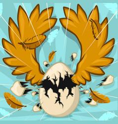 Egg wings hatch cartoon vector