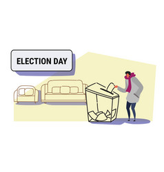 election day concept casual man voter putting vector image