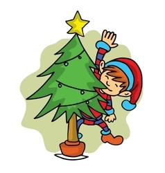 Elf helper with spruce Christmas theme vector image