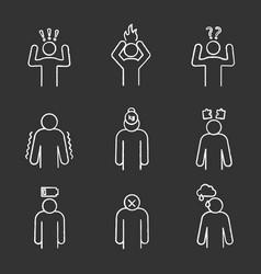 Emotional stress chalk icons set vector