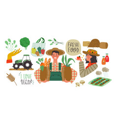 Farmer people set agriculture organic production vector